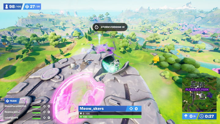 Attacking a trespasser in a flying saucer in Fortnite.