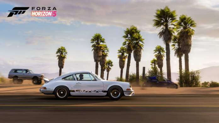A car hits the road in Forza Horizon 5.