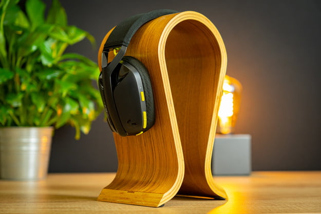 Logitech's G435 gaming headset on a stand.