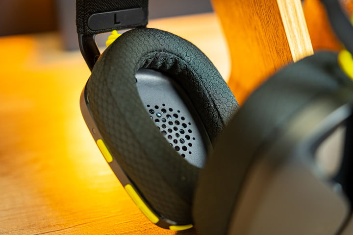 Ear cushions on the Logitech G435 gaming headset.
