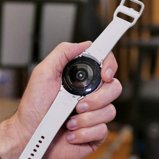 Galaxy Watch 4 in white from the back.