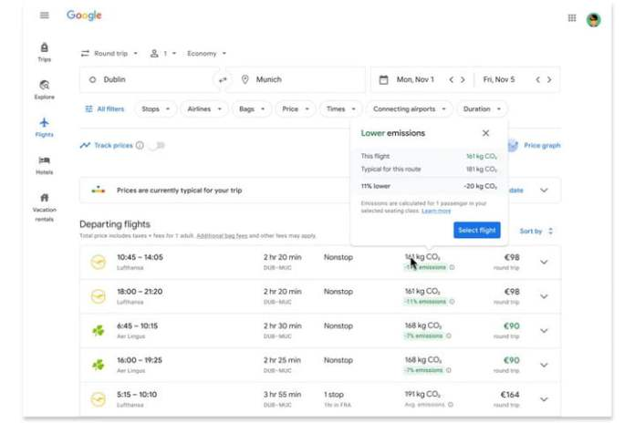A screenshot of Google search results for a flight with stability filter.