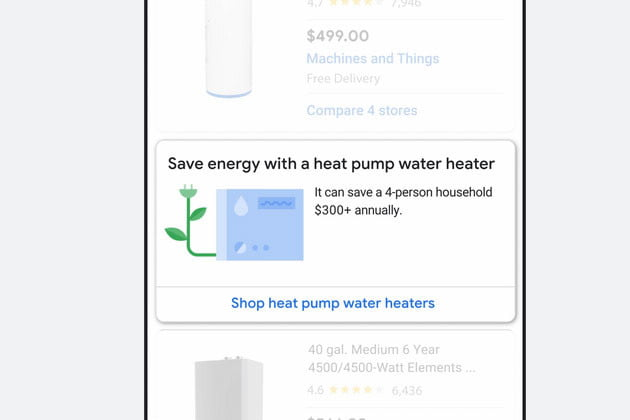 Screenshot of Google search results for water heater.