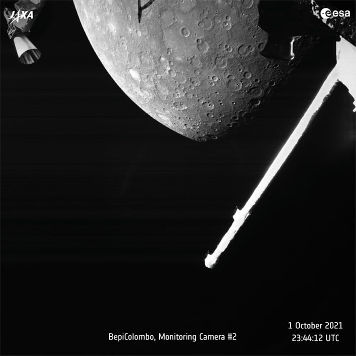 A view of Mercury captured by the joint European-Japanese BepiColombo mission on 1 October 2021 as the spacecraft flew past the planet.