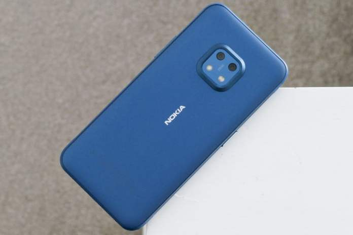 The Nokia XR20 in Ultra Blue color, seen from the back.