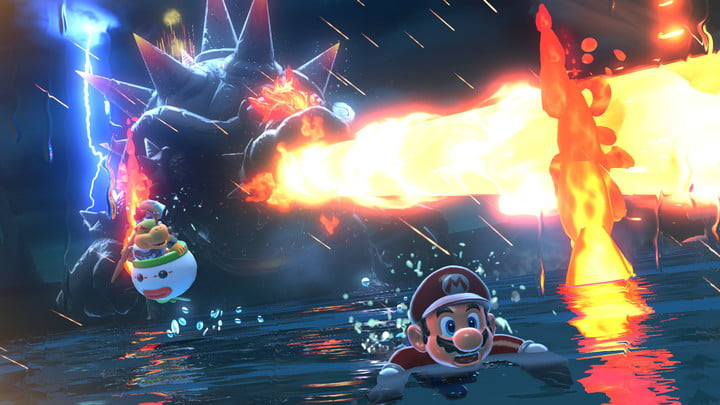 Mario escapes a fire-breathing Bowser in Bowser's Fury.