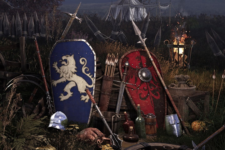 A blue and red shield from Chivalry 2.