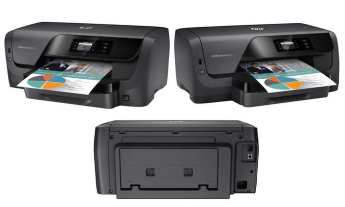 HP Officejet Pro 8210 printer shown from three different angles with a sheet of colorful paper in the tray, on a white background.
