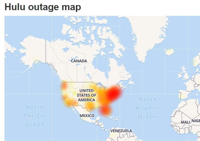 An example of a Hulu outage map.