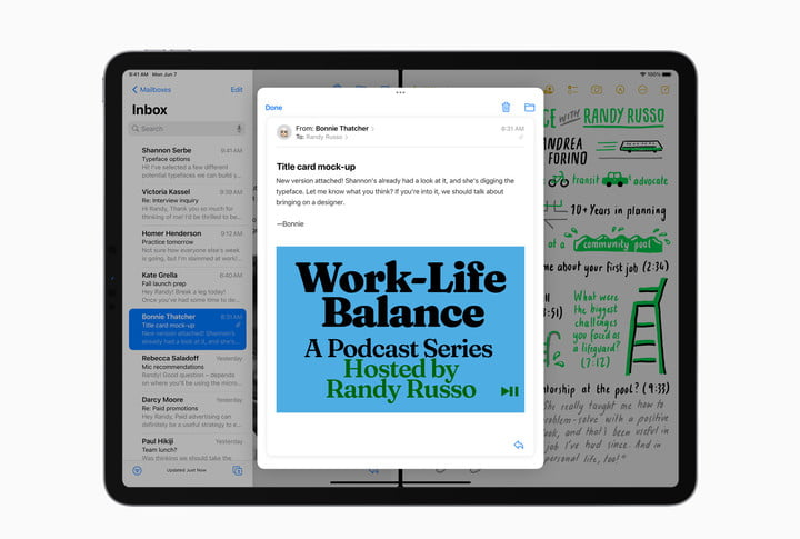 An email message center window floats in front of the Mail app in iPadOS 15.