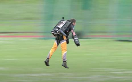 Watch this jetpack stuntman take on Usain Bolt's 100-meters record