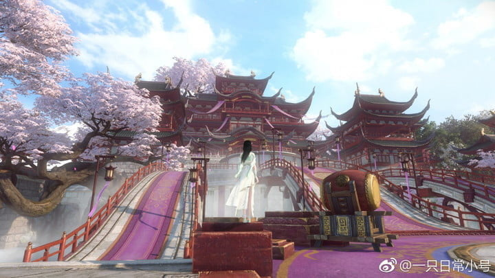A character standing in a vibrant town in Justice Online.