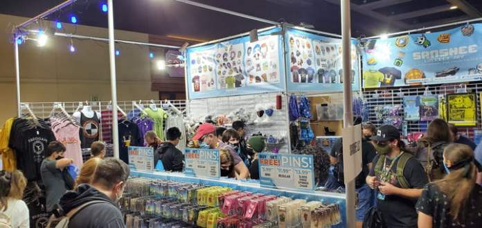 Vendor selling gaming merchandise with full line