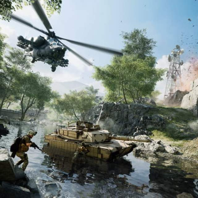 A helicopter flies over tanks in Battlefield 2042.