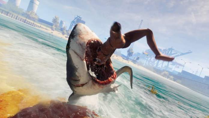 Shark swallowing a woman on the beach.