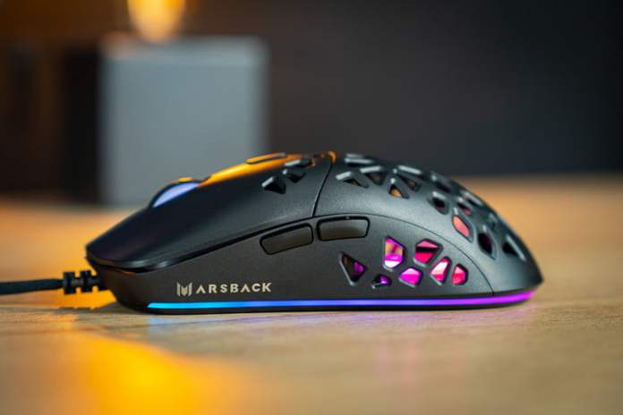Side profile of Marsback Zephyr Pro with RGB.