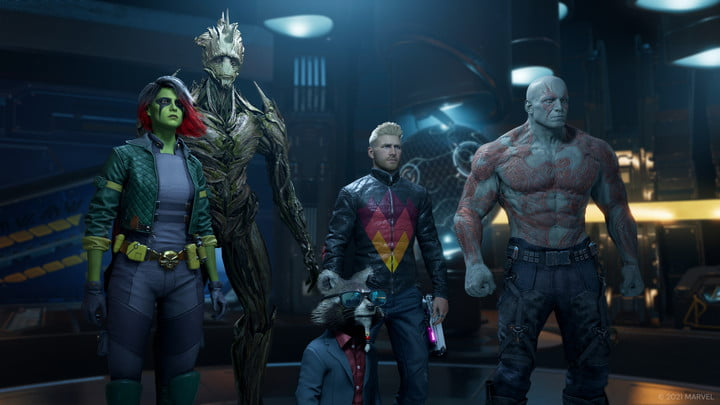 The Guardians of the Galaxy stand together in alternate costumes.