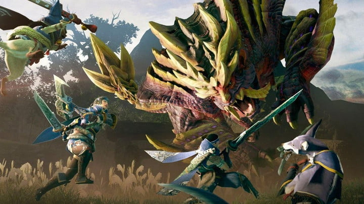 Players attack an enemy in Monster Hunter Rise.