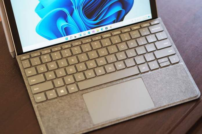 Microsoft Surface Go 3's keyboard and trackpad.