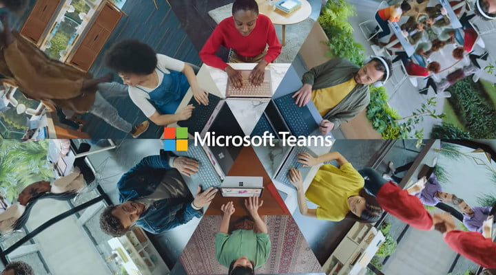 Mosaic of people on various video calls with Microsoft Teams logo in the middle.