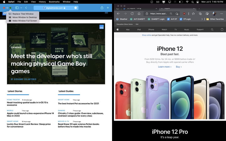 Two windows open side by side in the latest version of MacOS.