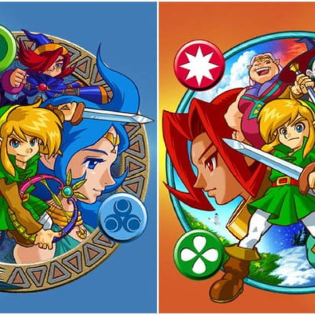 Two logos for the Zelda Oracle games.