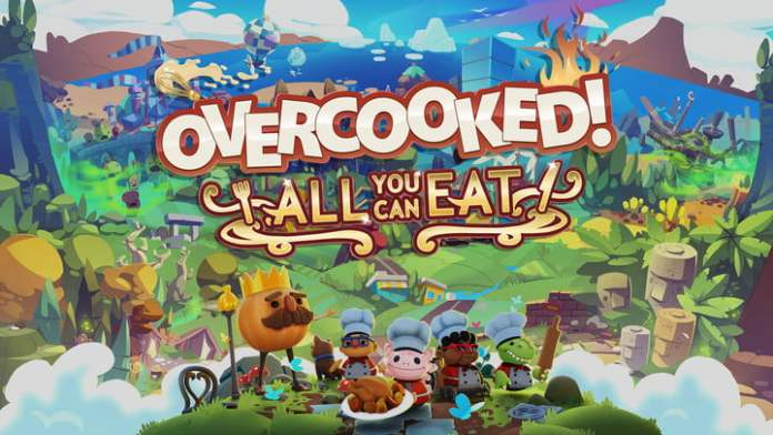 Characters posing for overcooked!  All You Can Eat Cover.