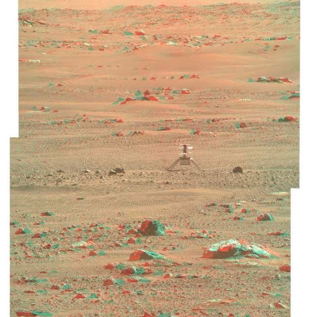 Ingenuity Helicopter in 3D: NASA's Ingenuity Mars Helicopter is seen here in 3D using images taken June 6, 2021, by the left and right Mastcam-Z cameras aboard NASA's Perseverance Mars rover.