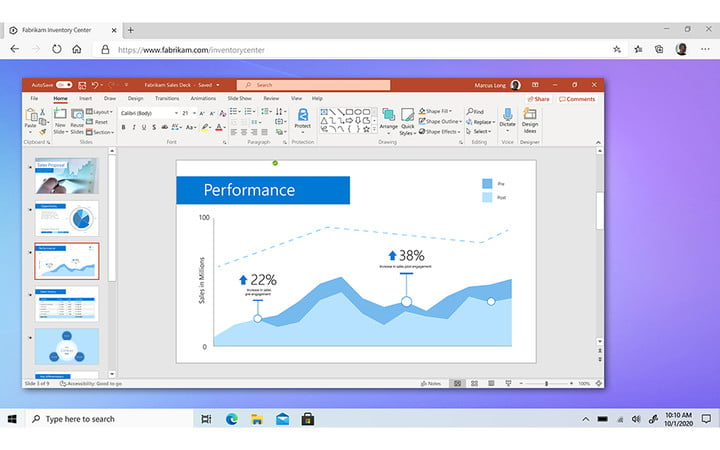 Windows 365 Cloud PC running in web browser showing powerpoint.