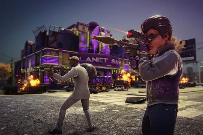 Saints Row player with explosive weapons.
