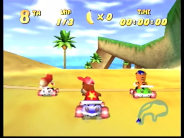 Racing with Diddy Kong in Diddy Kong Racing.