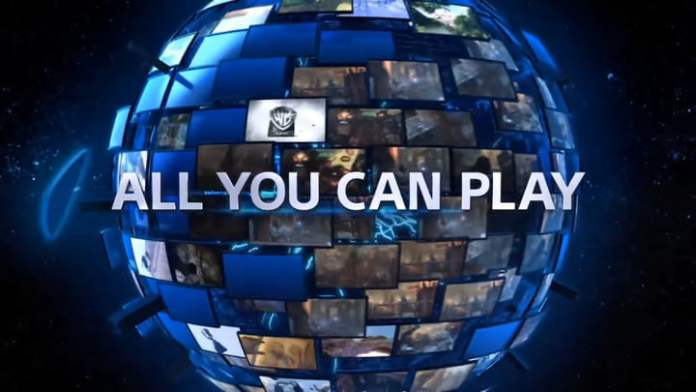 A globe of the screen behind the words All You Can Play.