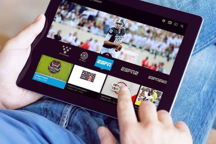 Someone is watching a game on Sling TV on a tablet.