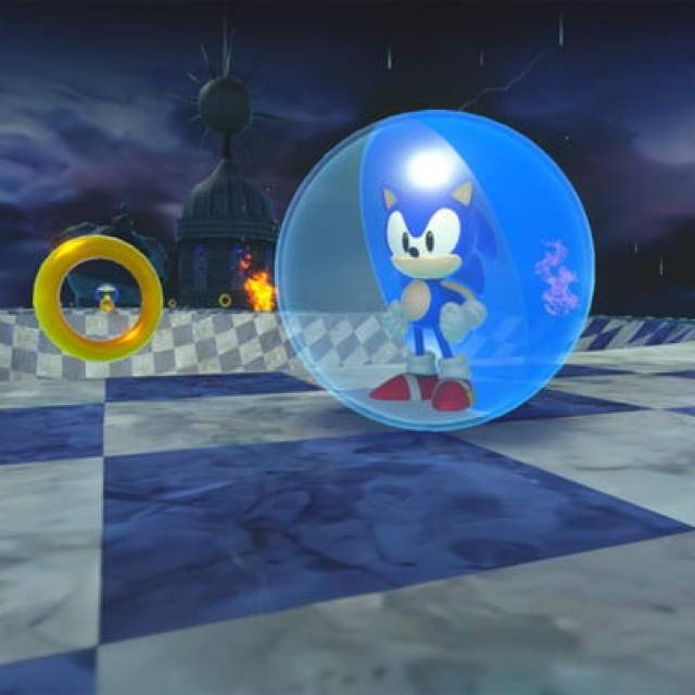 Sonic stands triumphantly next to some rings in the Storm world.