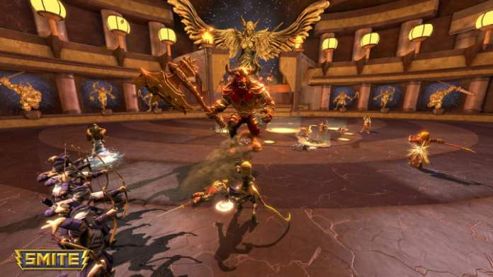 Archers fire on a giant minotaur in Smite.