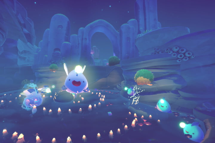 Wile slimes glow at night in Slime Rancher 2.