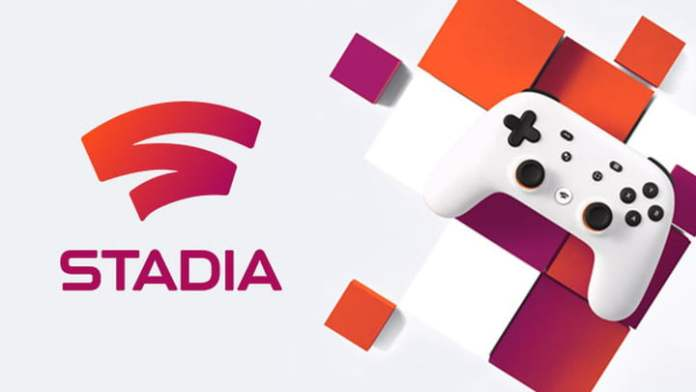 A Google Stadia controller with Stadia logo.