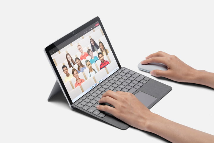 Surface Go 3 with type cover and mouse.