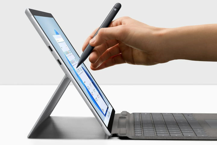 The Surface Pro X used with the Surface Slim Pen 2.