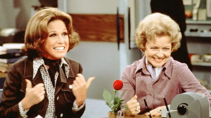 Mary Tyler Moore and Betty White at The Mary Tyler Moore Show.