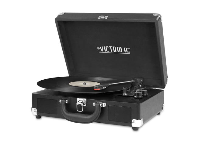 A Victrola vintage three-speed record player with Bluetooth.