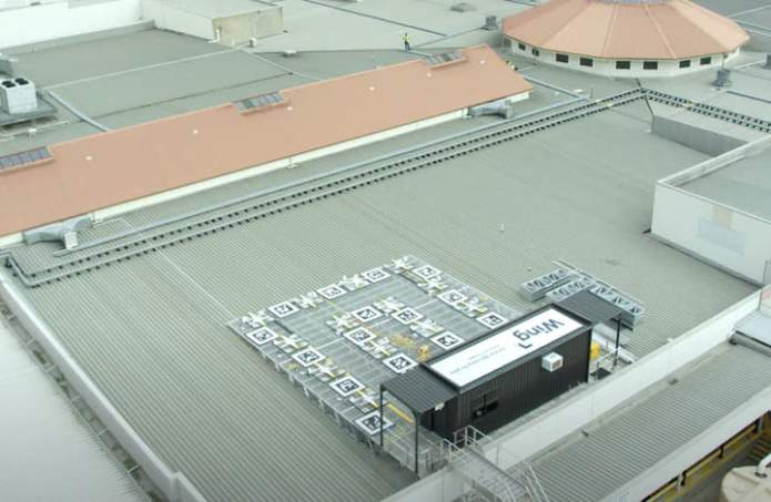 Wing's new drone station on top of a shopping mall.