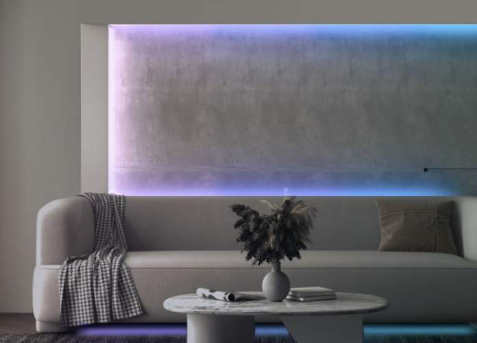 The Wyze light strip shown behind the sofa.