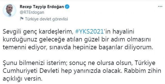 Cumhurbaşkanı Erdoğan, YKS ye girecek öğrencilere başarı diledi #1