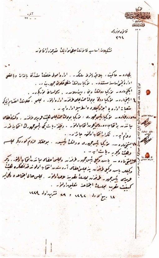 95. yıl dönümünde Cumhuriyet'in kuruluş belgesi