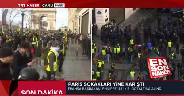 TRT Haber muhabiri Paris'te yaşanan kaosu canlı bildirdi
