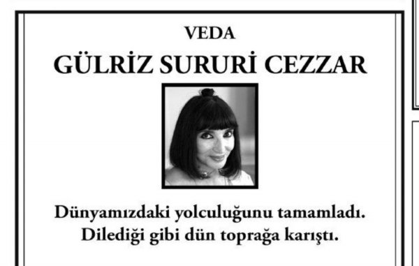 Gülriz Sururi'ye ilginç başsağlığı ilanı
