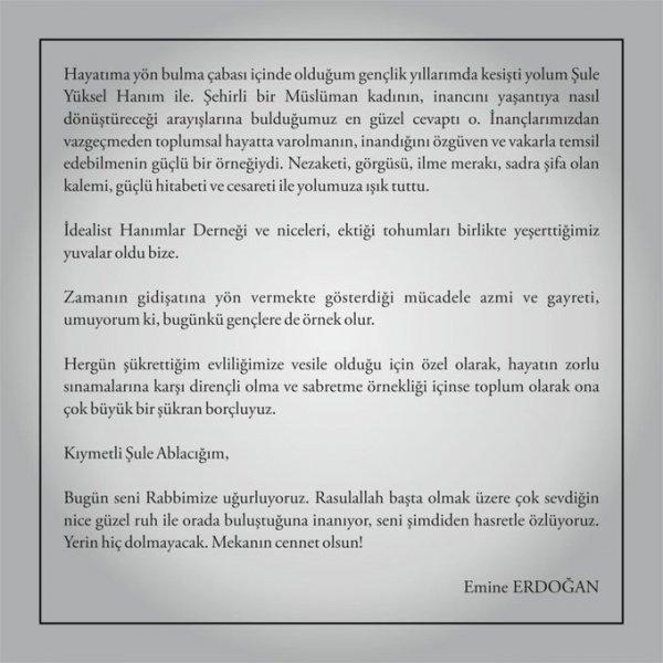 Emine Erdoğan, Şule Yüksel Şenler için mesaj yayınladı