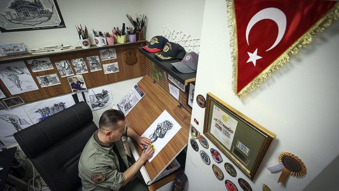 Malatya da polis memuru, sanat becerisini sanal operasyon alanlarının tasarımında kullanıyor #4