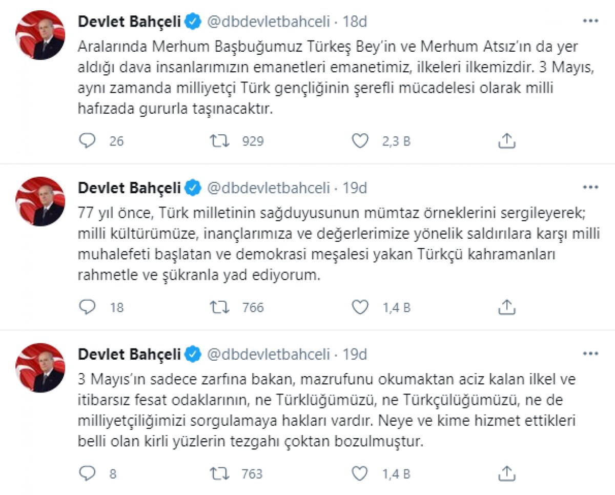 Devlet Bahçeli den 3 Mayıs Türkçülük Günü mesajı #3